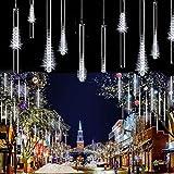 LEDs Meteorschauer Regen Lichter,SUAVER Wasserdichte Regentropfen Solar Licht Garten Lichterketten mit 30cm 10Tube 360LED,dekorative Lichter für Hochzeits Weihnachtsbaum(Weiß)