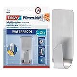 Tesa Powerstrips Waterproof Badutensilienbehälter Rasiererhalter Zahnbürstenhalter (Metall, Duschhaken/Badhaken)