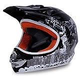 Motorradhelm Kinder Cross Helme Sturzhelm Schutzhelm Helm für Motorrad Kinderquad und Crossbike in schwarz (Medium)