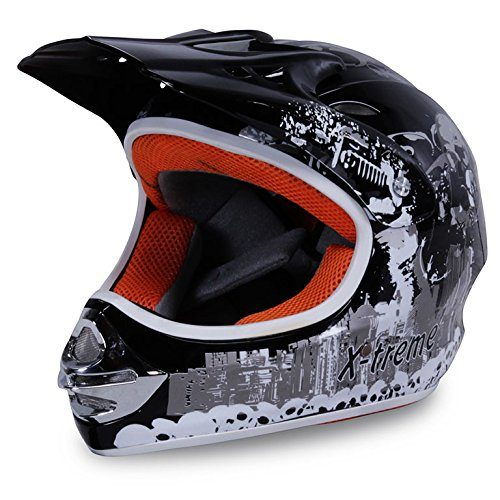 Motorradhelm Kinder Cross Helme Sturzhelm Schutzhelm Helm für Motorrad Kinderquad und Crossbike in schwarz (X-Small)