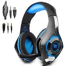 Cuffie da Gioco per PS4, Beexcellent GM-1 L'ultima Versione Cuffie Gaming Headset con Microfono Stereo Bass LED Luce Regolatore di Volume per Cancellazione di Rumore PS4 PC Cellulari (blu)