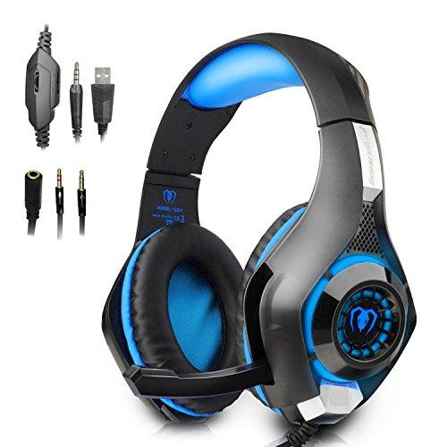 PECHAM [Auriculares gaming] 3,5 mm interfaz los auriculares de música, Auriculares Estéreo profesionales, con el micrófono LED Retroiluminada para PS4 / Mac / iOS / Android / PC / Móvil / Xbox One (Negro + azul)