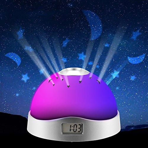 OurLeeme reloj de proyección 3-LED RGB luz de flash Tiempo estrella de la luna Reloj despertador luz de la noche de Kid habitación