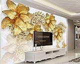 HONGYUANZHANG Papier Peint Personnalisé 3D Salon Chambre Tv Or Bijou Fleur Tv Fond Murs Peintures Murales Papier Peint Pour Murs,60cm (H) X 80cm (W)...
