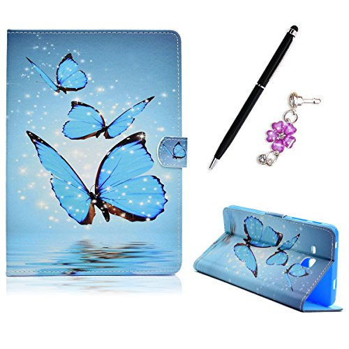 Samsung Galaxy Tab 3 Lite 7.0 T110 / T111 / T113 Fall Hülle Schutzhülle, Flip PU Leder Tablet Case Staubstecker Anti-Scratch Handyhülle, Blaue Schmetterlinge