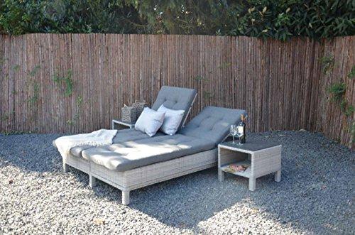lifestyle4living Gartenliege aus Polyrattan Geflecht grau, verstellbar inkl. Auflage. Die klappbare Doppelliege ist wetterfest, ideal für Garten, Terrasse und Balkon.