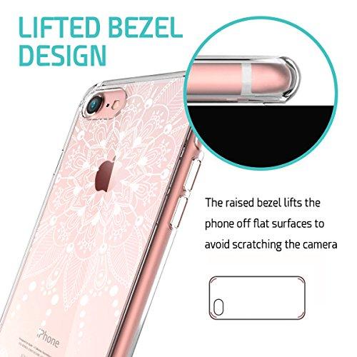ZUSLAB iPhone 8 / iPhone 7 Hülle, Mandala Blumen Klar TPU Bumper Rahmen mit Plastik Hart Case Henna Durchsichtig Schutz Schutzhülle für Apple iPhone 8 / iPhone 7 [Weiß Paisley] Weiß Paisley