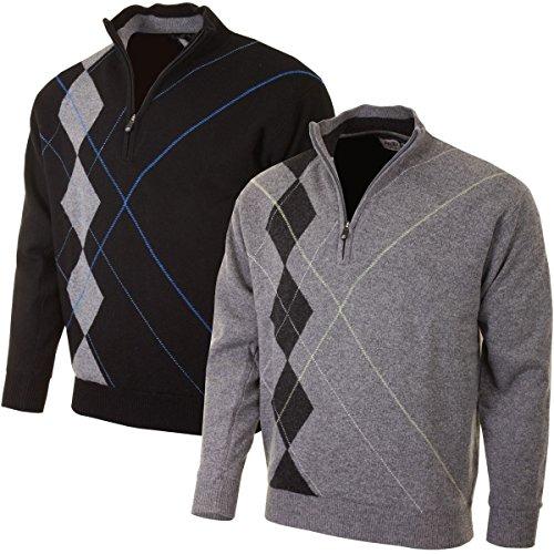 2015 Proquip Laine D'agneau Half Zip Doublé Intarsia Sweater Hydrofuge Hommes Golf Pull