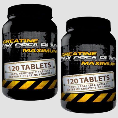 CA-X CREA BLACK MAXIMUM | 2x 120 (240) Tabletten (Vegan) | Creatine Alkaline (Kre-Alkalyn) | Creatine Alkaline optimiert mit Vitamin B6 | Muskelaufbau - Masseaufbau - Kraftsteigerung - Schnellkraft | In GMP & ISO9001 Premium Qualität