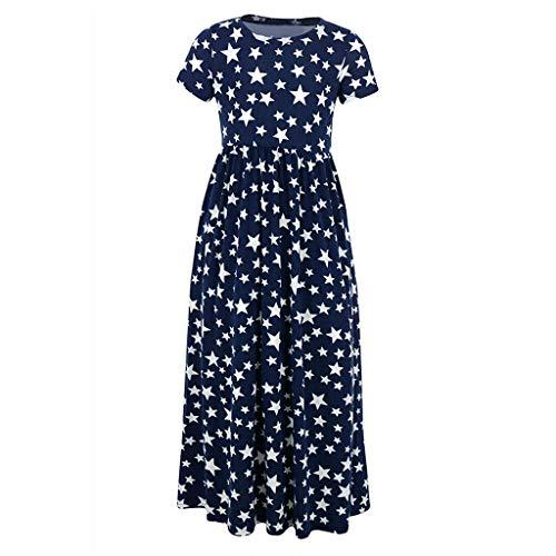 Livoral Mädchen Kleid Kind Baby Flower Star Tasche Kleid Kind Party Strandkleid(Weiß,XX-Large)