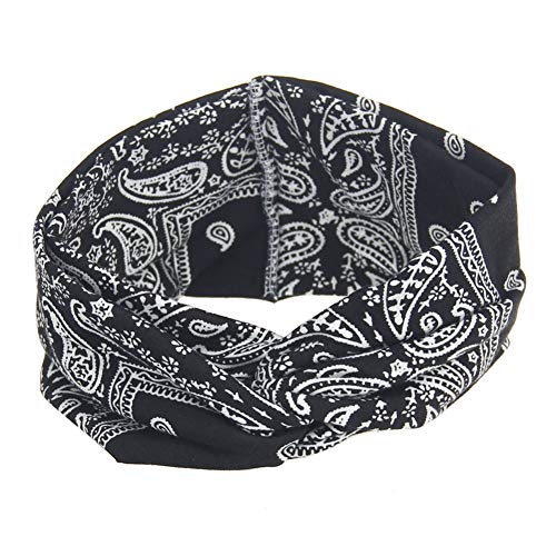 n Stirnband Blumendruck Haarreif Turban Knoten Elastisch Haarbänder Mode Weich Haarschmuck Verdreht Yoga Sport Headwrap,Schwarz ()