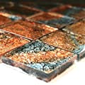 Glasmosaik Mosaik Fliesen Kupfer Silber Mix Metall 48x48x8mm von Mosafil bei TapetenShop