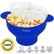 Firlar Microondas Popcorn Popper Sturdy Comodas Asas, Silicona Popcorn Maker, Collapsible Bowl Con Tapa (Azul)