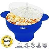 firlar Mikrowelle Popcorn Popper stabile praktische Griffe, Silikon Popcorn Maker, Schüssel mit Deckel, zusammenfaltbar (blau) -