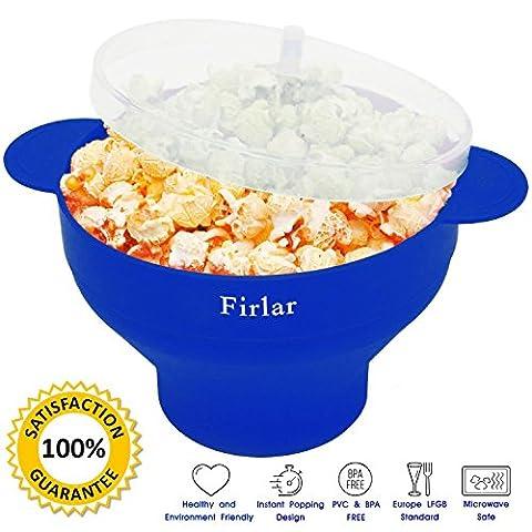 firlar Mikrowelle Popcorn Popper stabile praktische Griffe, Silikon Popcorn Maker, Schüssel mit Deckel, zusammenfaltbar (blau)
