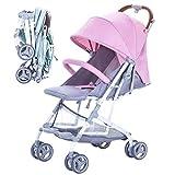 SJZC Kinderwagen Kombikinderwagen Einfacher Regenschirm Falten Babywagen Babyschale,Pink