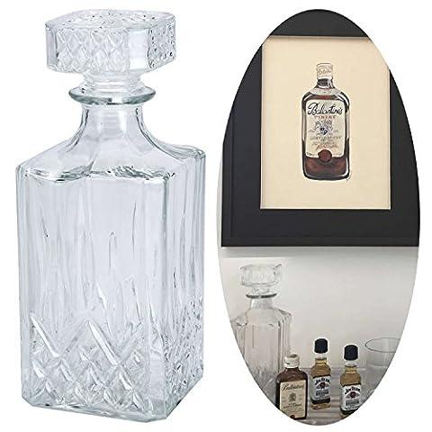 LS Design Whisky Glas Karaffe Glaskaraffe Cognac Sherry Likör Kristall Decanter 900ml Rechteck (Rechteck Glas)