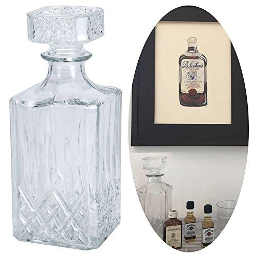 LS Design Whisky Glas Karaffe Glaskaraffe Cognac Sherry Likör Kristall Decanter 900ml Rechteck 23x9x9cm Kristall-dekanter Likör