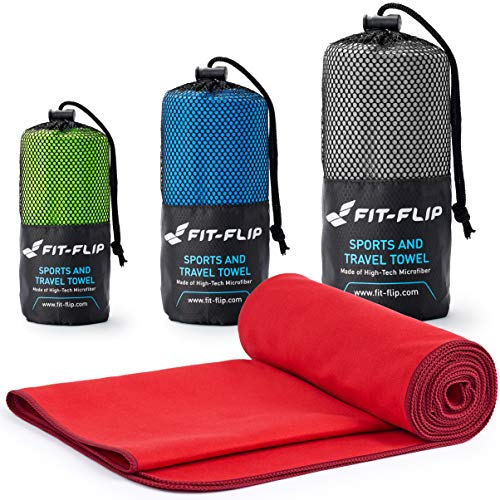 Fit-Flip Rot mit weinroten Rand, Set: 160x80cm + 80x40cm | Badetuch microfaser Handtuch mikrofaser Handtuch Sport reisehandtuch Set