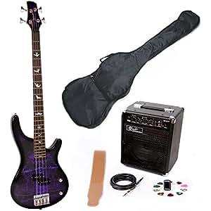 Lindo PDB Series Purple Dove Electric Bass Guitar & EBG15-FP Amplifier Pack