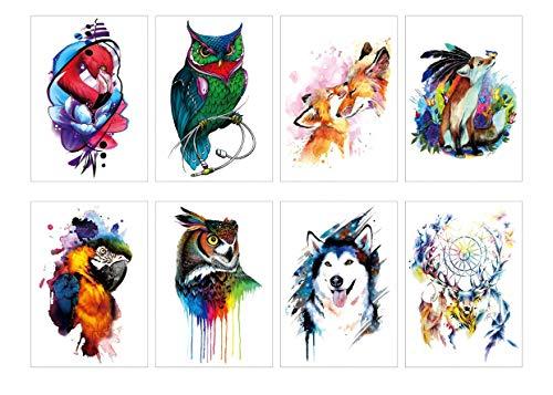 Spestyle Temporary Tattoos für Männer, 8pcs / package Verschiedene Tiere Tattoos für Kinder Party Favors Tattoos Aufkleber für Owl Eagle Wolf
