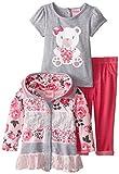 Nannette Kinder Mädchen Outfit Jacke mit Kapuze + T-Shirt + Leggings Hose Blümchen Design (92)