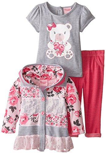 Nannette Kinder Mädchen Outfit Jacke mit Kapuze + T-Shirt + Leggings Hose Blümchen Design (86) -