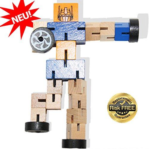 EasY Kid's ToY- NEUHEIT Holzroboter mit vielen Kombinationsmöglichkeiten, Original Holzspielzeug für Spielerisches Lernen der Motorik, Kreatives Holz Geschenk für Kinder, Lernspiel Jungen und Mädchen