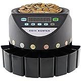 MVpower Contador de Monedas Automàtico Clasificador de Monedas con Pantalla LED, Color Negro