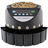 MVPOWER Contador de Monedas Automàtico Clasificador de Monedas Máquina de Clasificación de Monedas con Pantalla LED