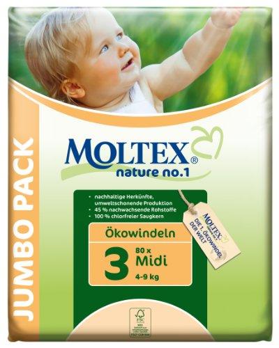 Moltex - Nature - Pañales ecológicos - Talla 3 (4 - 9 kg) - 80 pañales