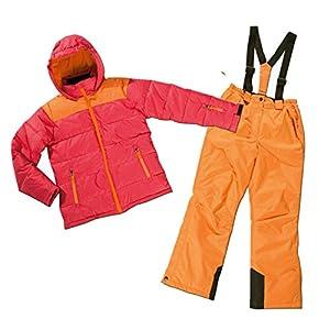 Pocopiano Mädchen Skianzug Skijacke & Skihose Set rot-orange Snowboardanzug