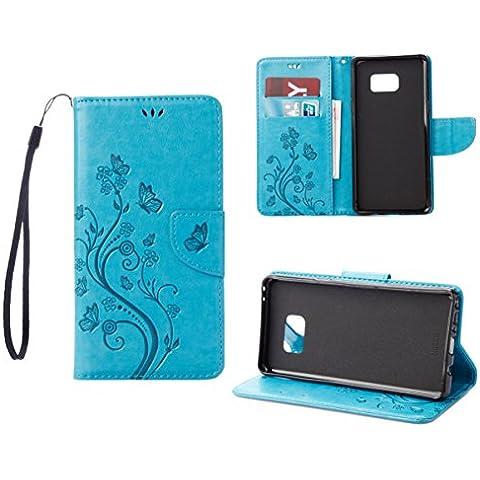 RanRou Galaxy Note 7 Funda Leather Funda [Butterfly Flower Pattern],Samsung Galaxy Note 7 Funda Flip PU Leather Wallet Card Slot Stand Funda Cover For Samsung Galaxy Note 7 Funda -sky blue