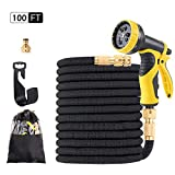 Quickcity 100ft Hose Pipe Garden Hose Expandable with 9 Pattern Spray Nozzle Water Hose,Leak-proofing & Flexible Garden Hose Expandable & Expandable Hose & Durable Garden Hose with Wall Mount Holder