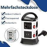 7 Fach Steckdosenleiste 2 USB Mehrfachsteckdose Steckerleiste Stromverteiler mit einzeln Schalter Überspannungsschutz und Blitzschutz Steckdosenturm mit 2 m Verlängerungskabel 2500W