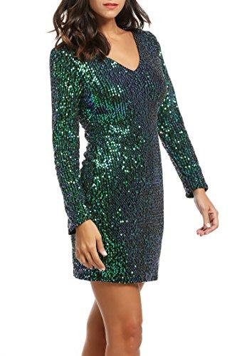 CRAVOG 2017 Mode Sexy Robe Moulante Courte Sequine Mini robe Col V Manche Longue Mini Dress Paillette Bling Bling Pour Cocktail , Soirée, Club Vert