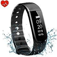OMorc Bracelet d'activité Cardiofréquencemètre Bracelet Connecté Sport avez Suivi de Fréquence Cardiaque Smart Band Bluetooth 4.0 avec Podomètre, Contrôle de la Musique, Alarme, Calories, Sommeil