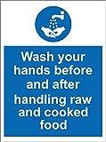 Etichetta - Sicurezza - Avvertenza - Catering igienico Lavare le mani prima e dopo aver maneggiato i segnali di sicurezza di cibi crudi e cotti di 20x15 cm