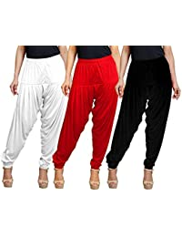 Eazy Trendz Women's Viscose Lycra Solid Patiala Pack Of 3-BLACK_WHITE_RED