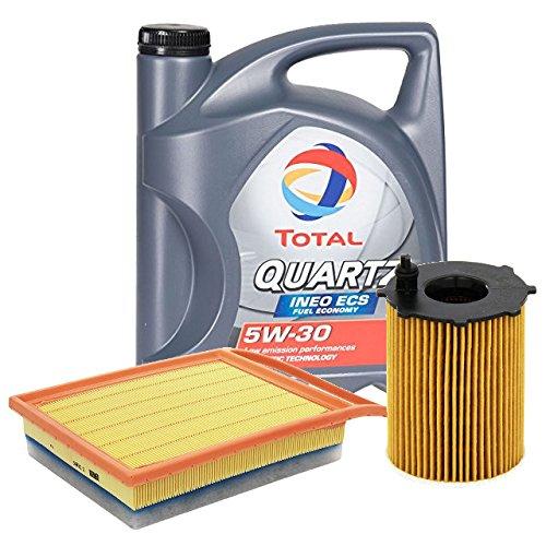 2parts Olio Motore per Auto Total Quartz INEO ECS 5W30 5 Litri, con Filtro Olio e Filtro Aria (529E/216)