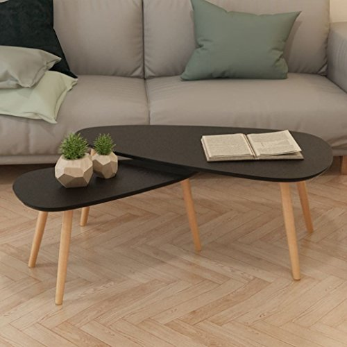 FZYHFA Set Lacktisch 2PCS aus Holz Kiefer massiv, 100x 50x 40cm (L x I X H) schwarz