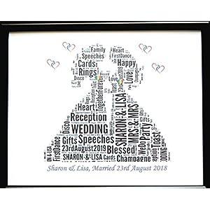 Neue personalisierte homosexuelle weibliche lesbische Hochzeits-Wort-Kunst (A) in einem Glasfrontrahmen, in einem schönen einzigartigen Geschenk und in einem Andenken
