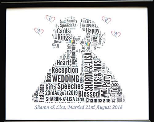 Neue personalisierte homosexuelle weibliche lesbische Hochzeits-Wort-Kunst (A) in einem Glasfrontrahmen, in einem schönen einzigartigen Geschenk und in einem Andenken (Harz-hochzeit Bilderrahmen)