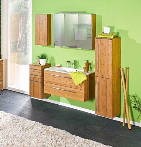 5-tlg. Badmöbel-Set in Bambus massiv, 1 Oberschrank, 1 Unterschrank, 1 Spiegelschrank, 1 Waschtischunterschrank mit Auflage, 1 Hochschrank