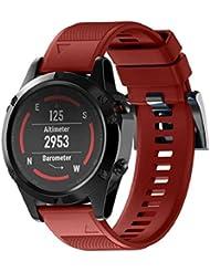 Correas para Garmin fenix 5 GPS, Sannysis banda de silicona de garmin fenix 5 correa 22cm (Rojo)