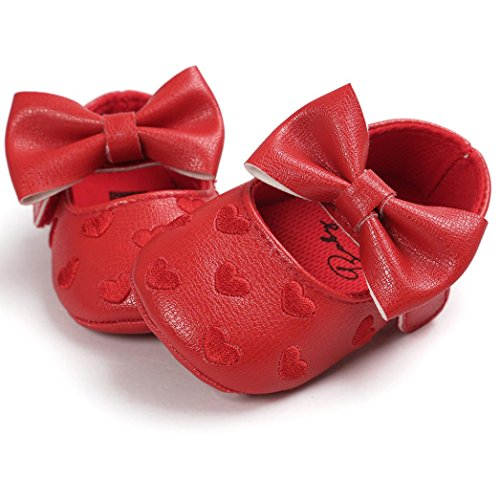 Hunpta Baby Mädchen Bowknot Leater Schuhe Sneaker rutschfest weiche Sohle Toddlerr (Alter: 0 ~ 6M, Rot) Rot