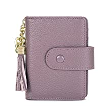 Women's Mini Credit Card Case Wallet with ID Window and Card Holder Purse (Lavender)