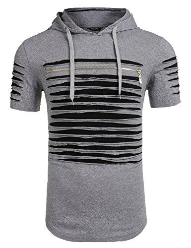 burlady Herren - T - Shirt Einen Hut auf Den Kopf - T - Shirt Grau
