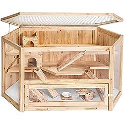 TecTake Jaula XXL de madera para hámster roedores animales pequeños ratón rata conejera