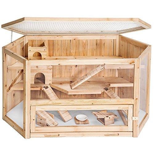 TecTake XXL Holz Hamsterkäfig Kleintierkäfig Mäusekäfig mit Zubehör